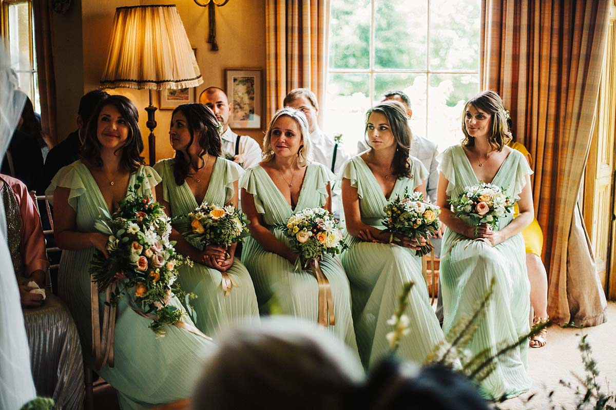 Bridesmaids watching the ceremony