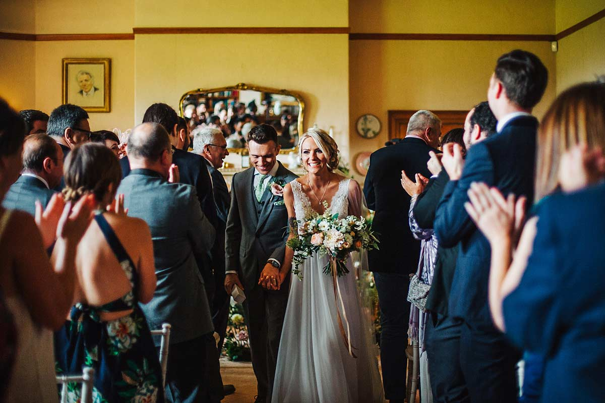 Guests congratulating the couple