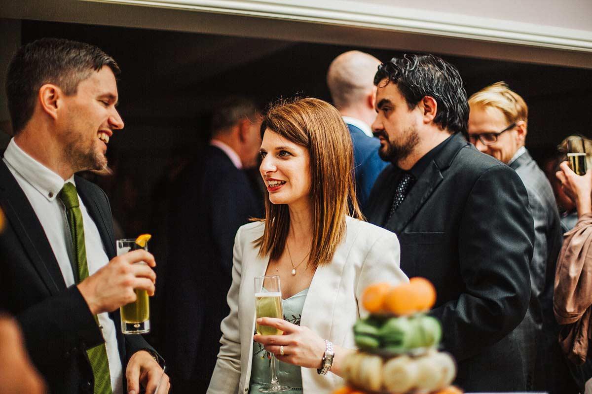 Wedding guests enjoying drinks