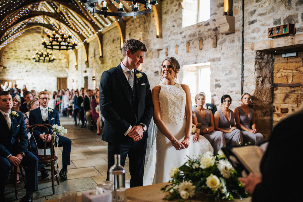 Barn wedding ceremony in Northumberland