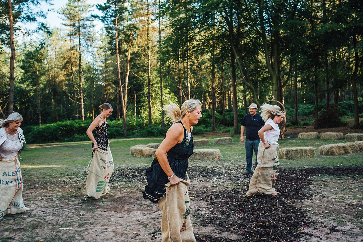 Sack race wedding games