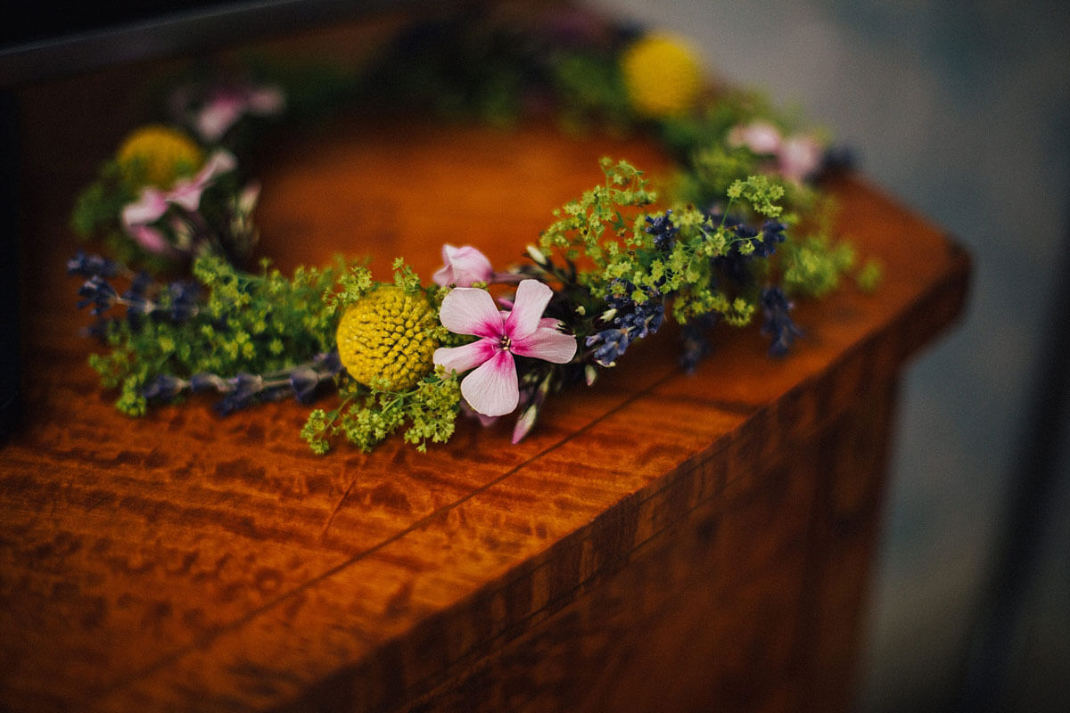 Colourful summer wedding crown