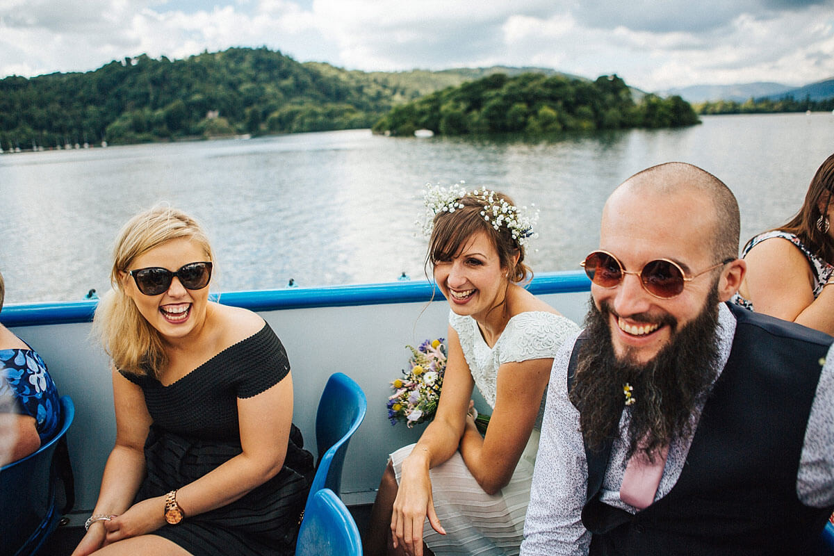 Fun boat ride for the wedding guests