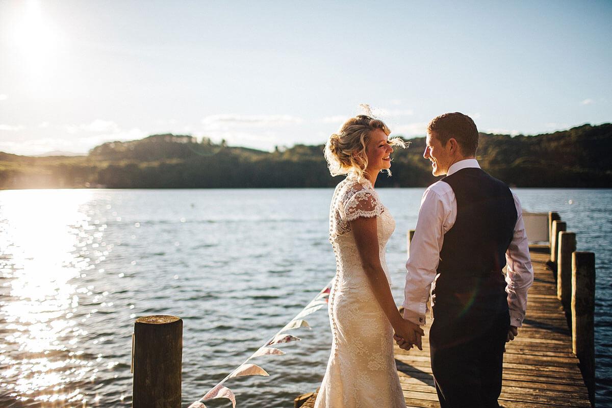 Lake Windermere wedding photo at Sunset