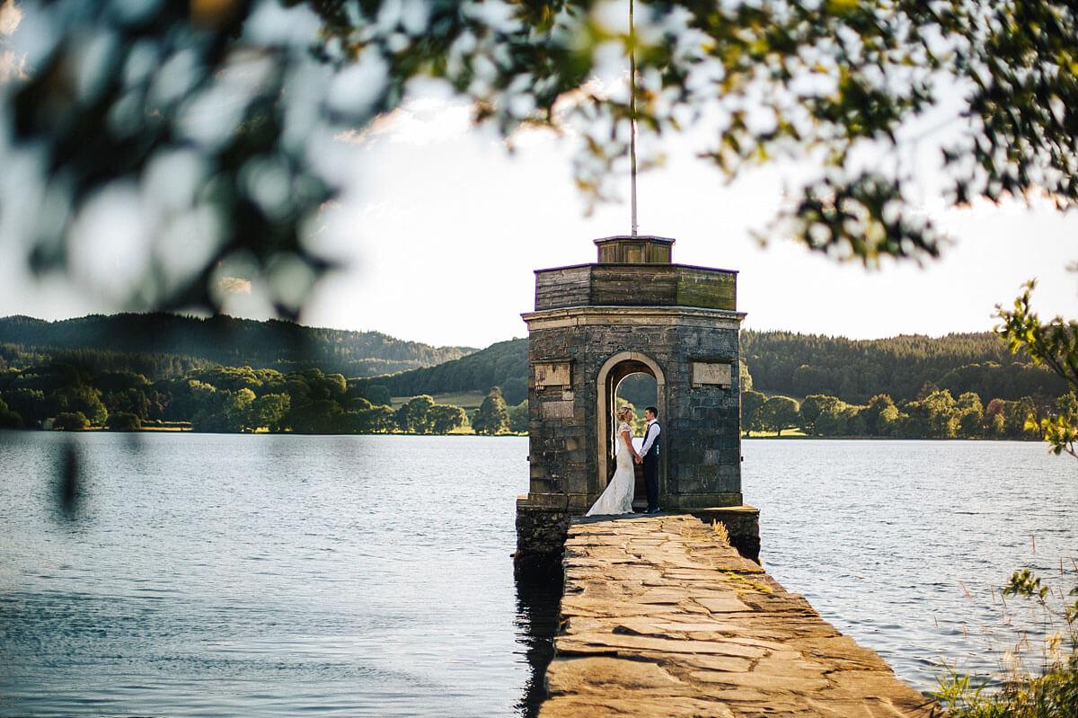 Beautiful wedding photo across Lake Windermere