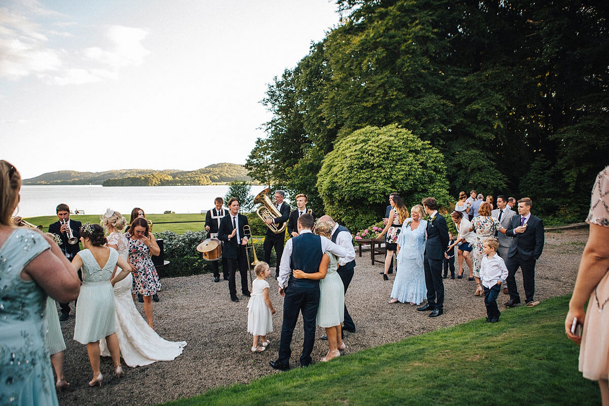 Laidback outdoor wedding with a live band