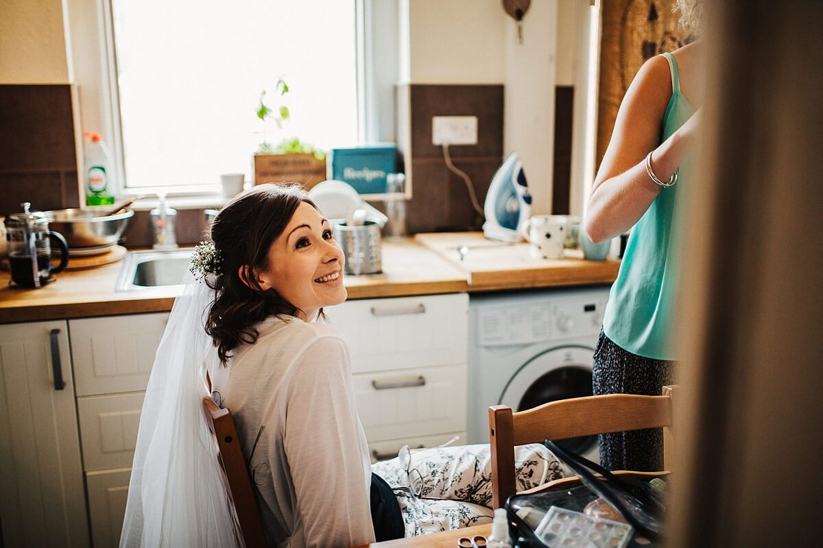 The bride in hair and makeup