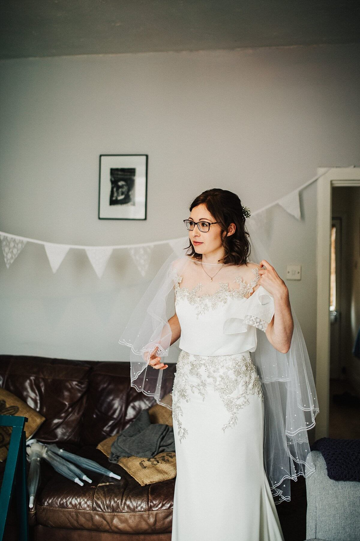 The bride in her Enzoani dress and veil