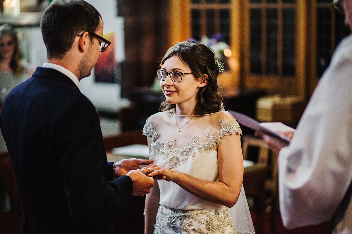 Exchanging rings at the church