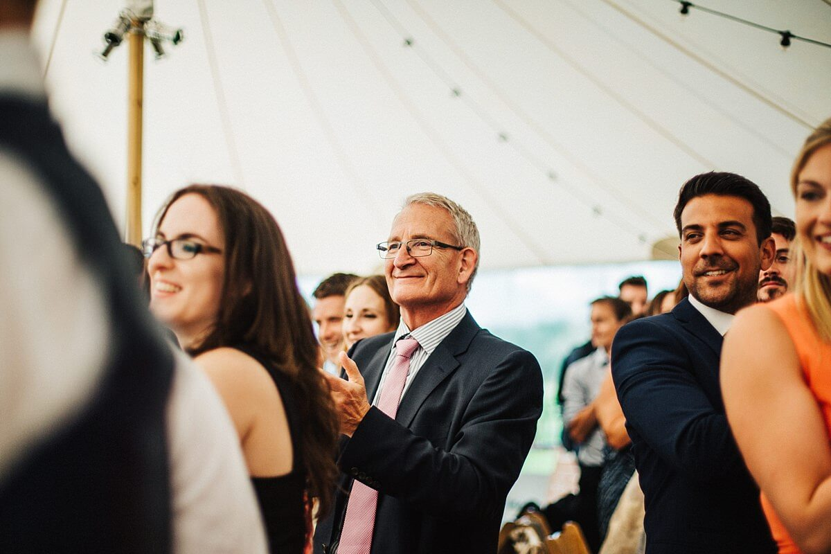 Guests in the wedding tent