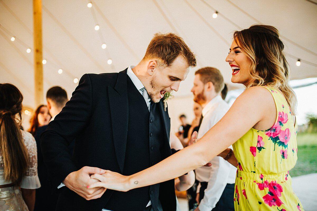 Fun evening dancing at the outdoor wedding