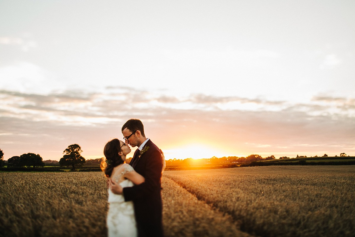 Sunset during wedding portraits