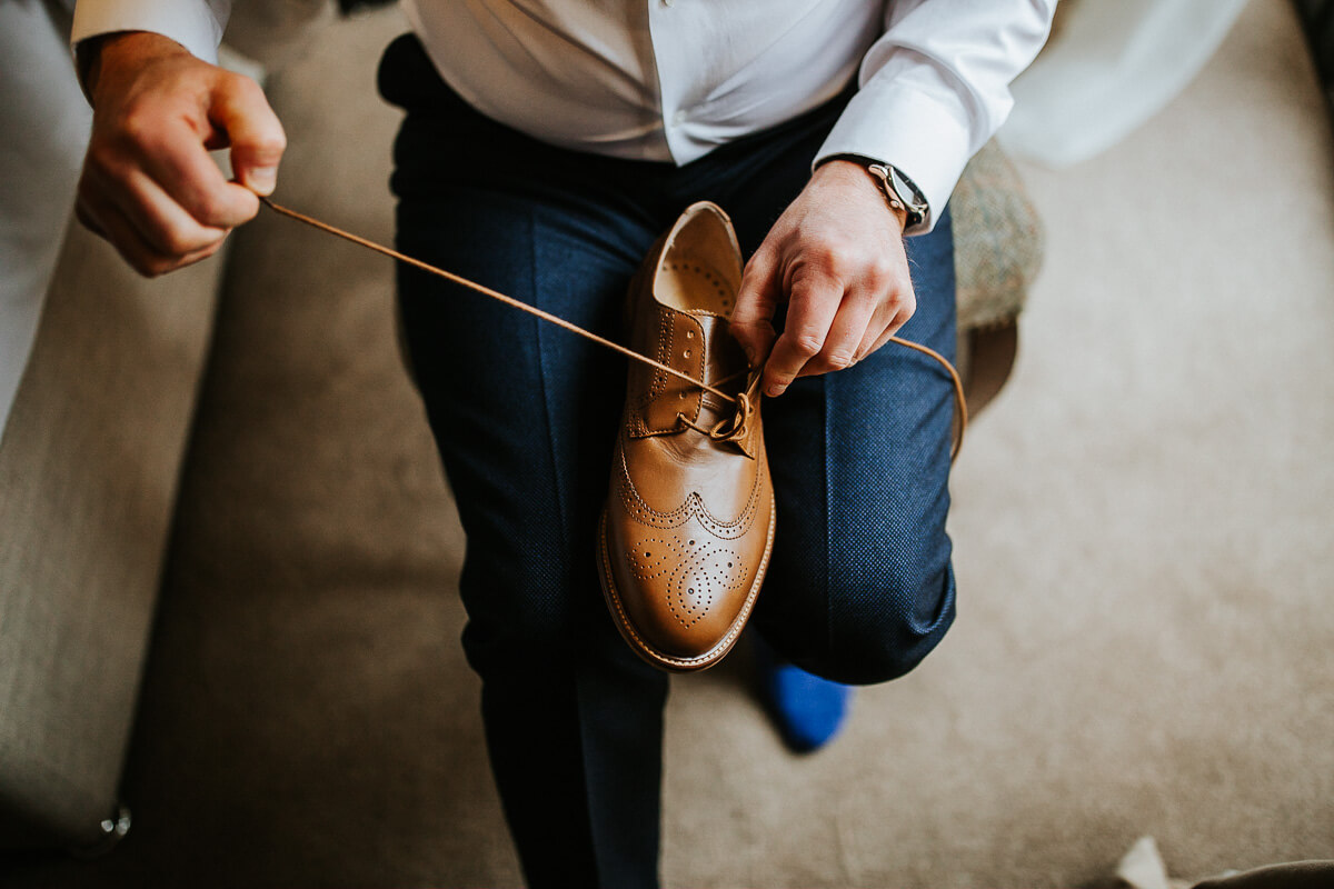 Tan brogue men's wedding shoes