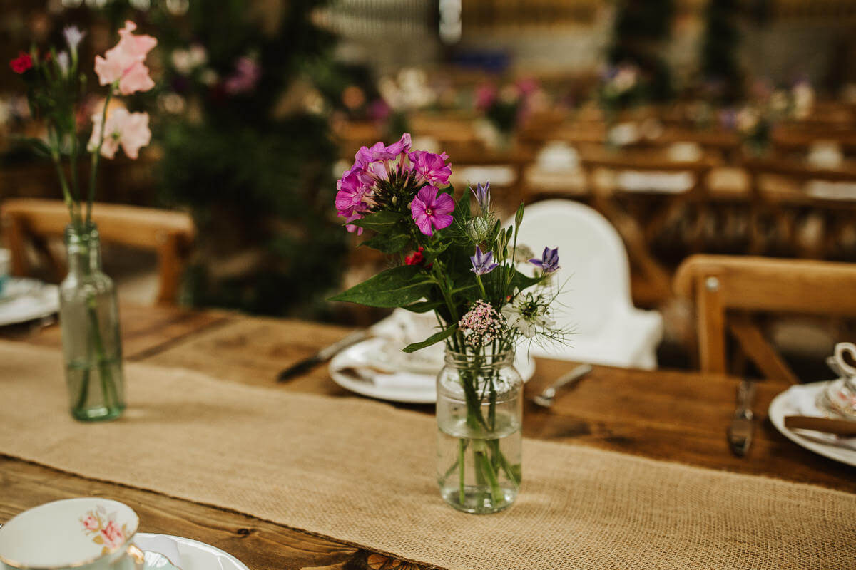 Wild flowers on wedding tables
