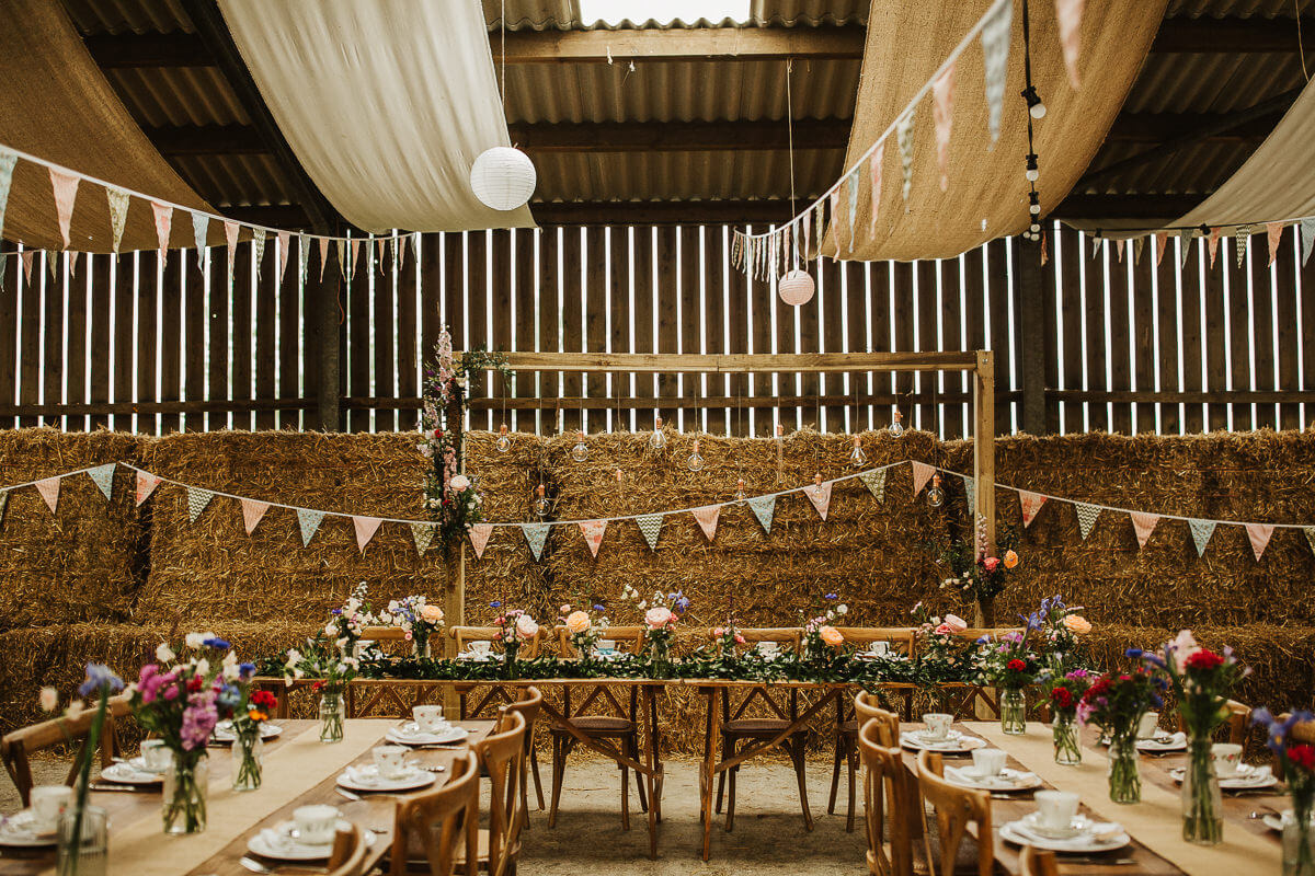 Vintage lighting for a farm wedding