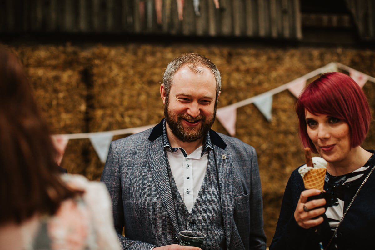 Wedding guests enjoying ice cream