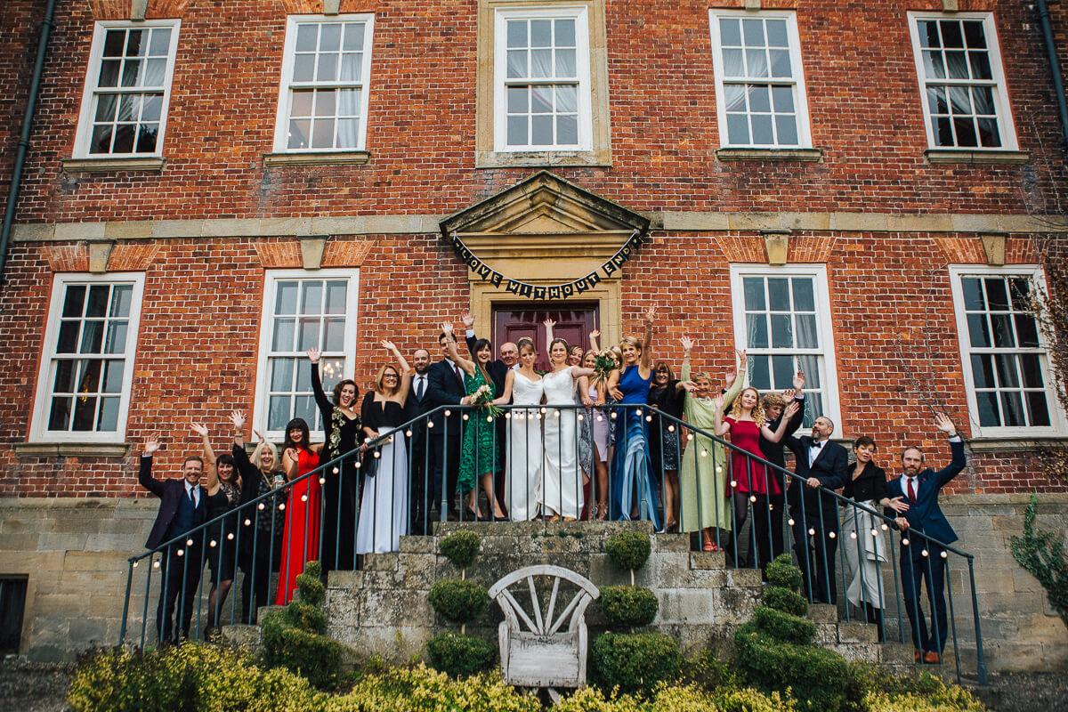 Large group photo of the wedding