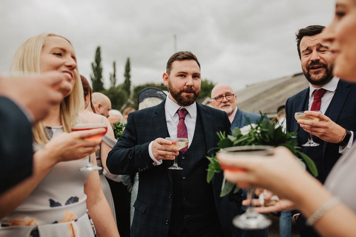 Wedding drinks at Owen House barn