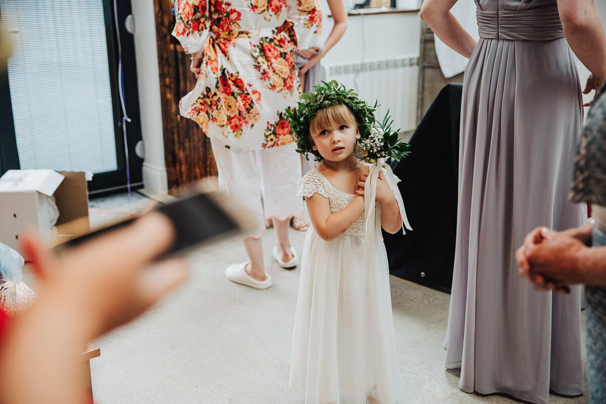 Flower Girl wearing a foliage hair crown