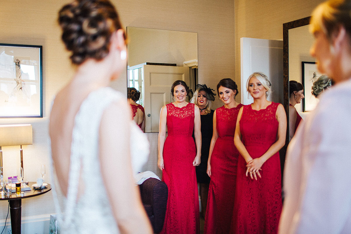 Emotional bridesmaids at a Manchester wedding