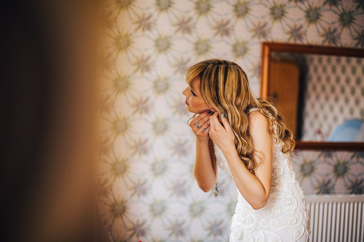 Bride wearing a boho dress