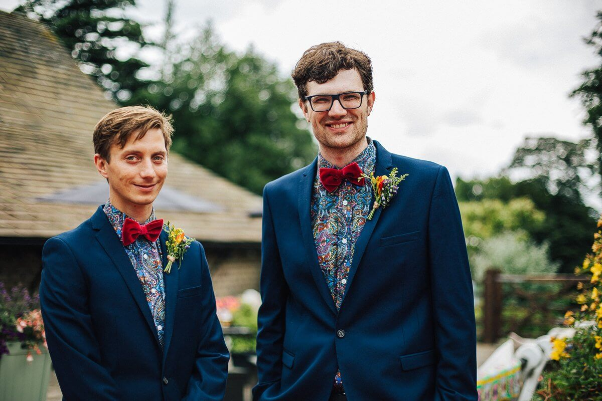 Brides-men wearing bow ties
