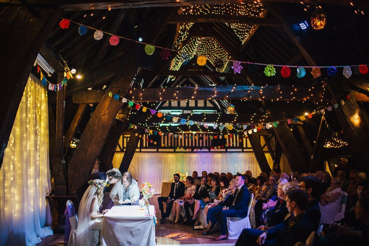 Colourful wedding decorations at Rivington Hall Barn