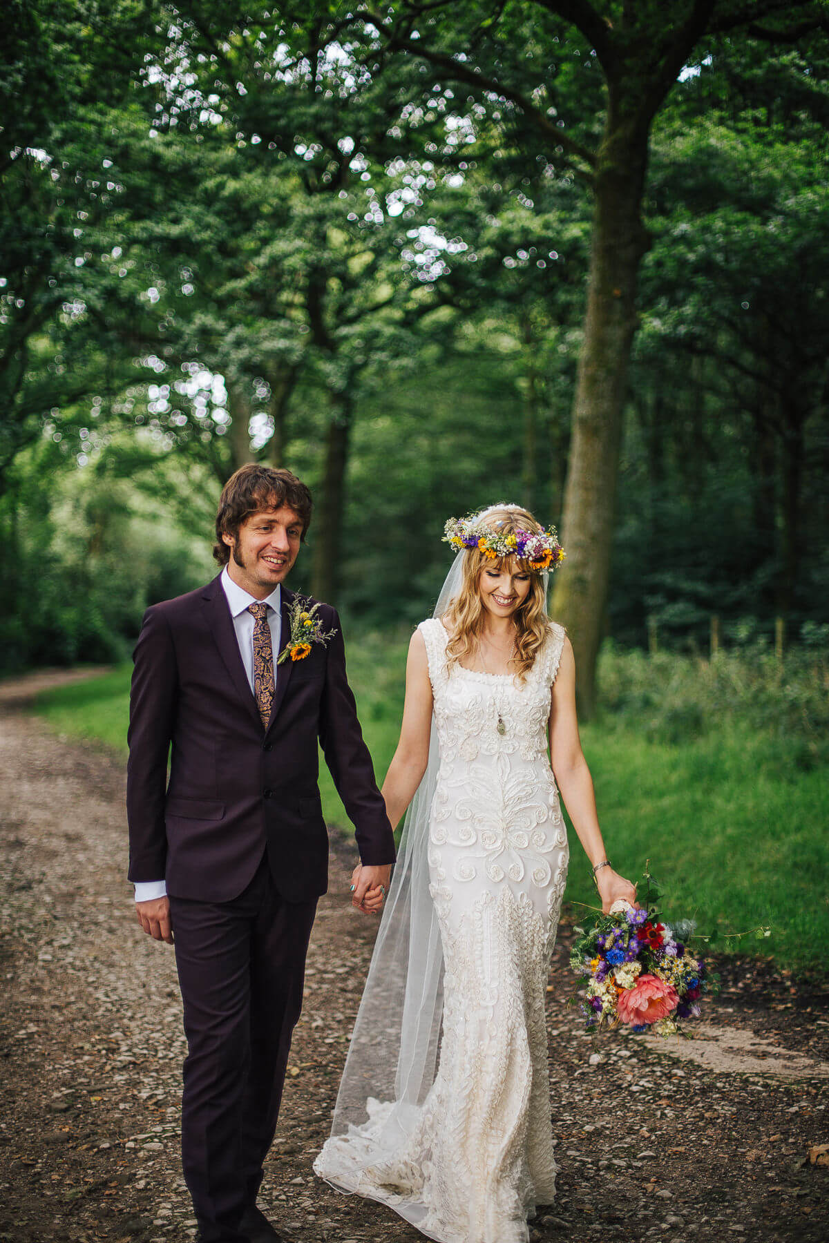 Relaxed photo at a Boho vintage wedding