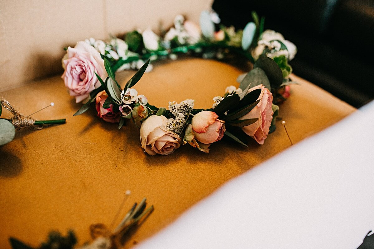 Pink wedding flower crown