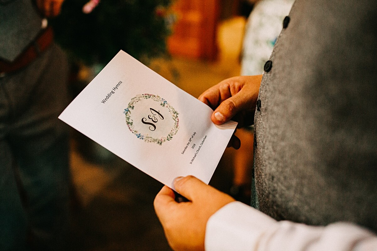 Rustic order of service cards