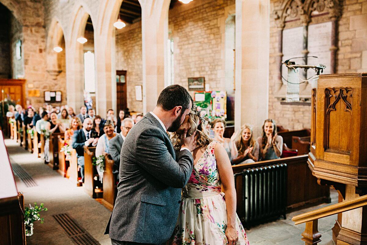 First kiss at Scorton wedding