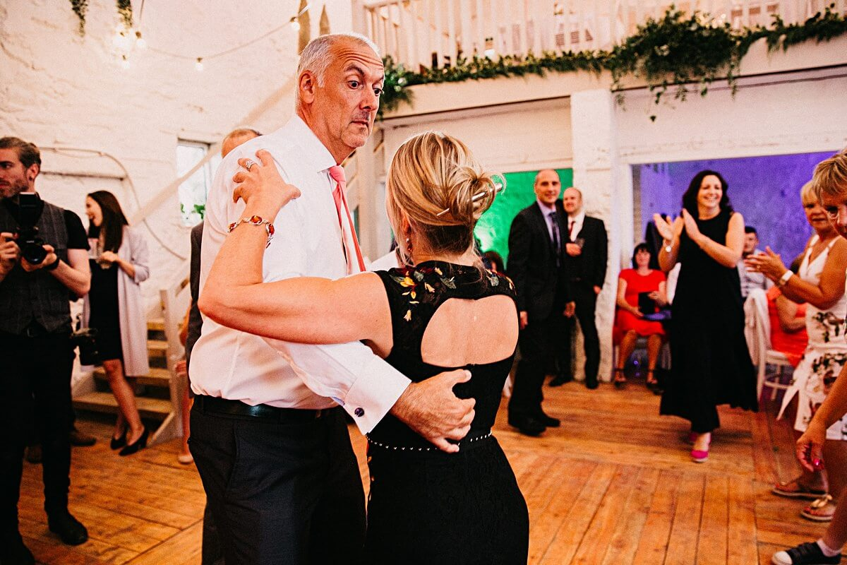Evening dancing at Lancashire wedding