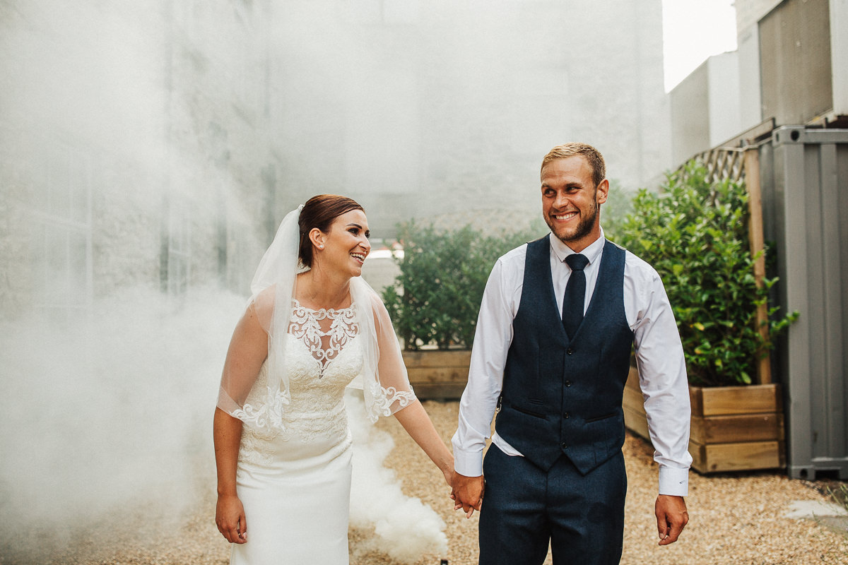 Fun wedding portrait at Holmes Mill