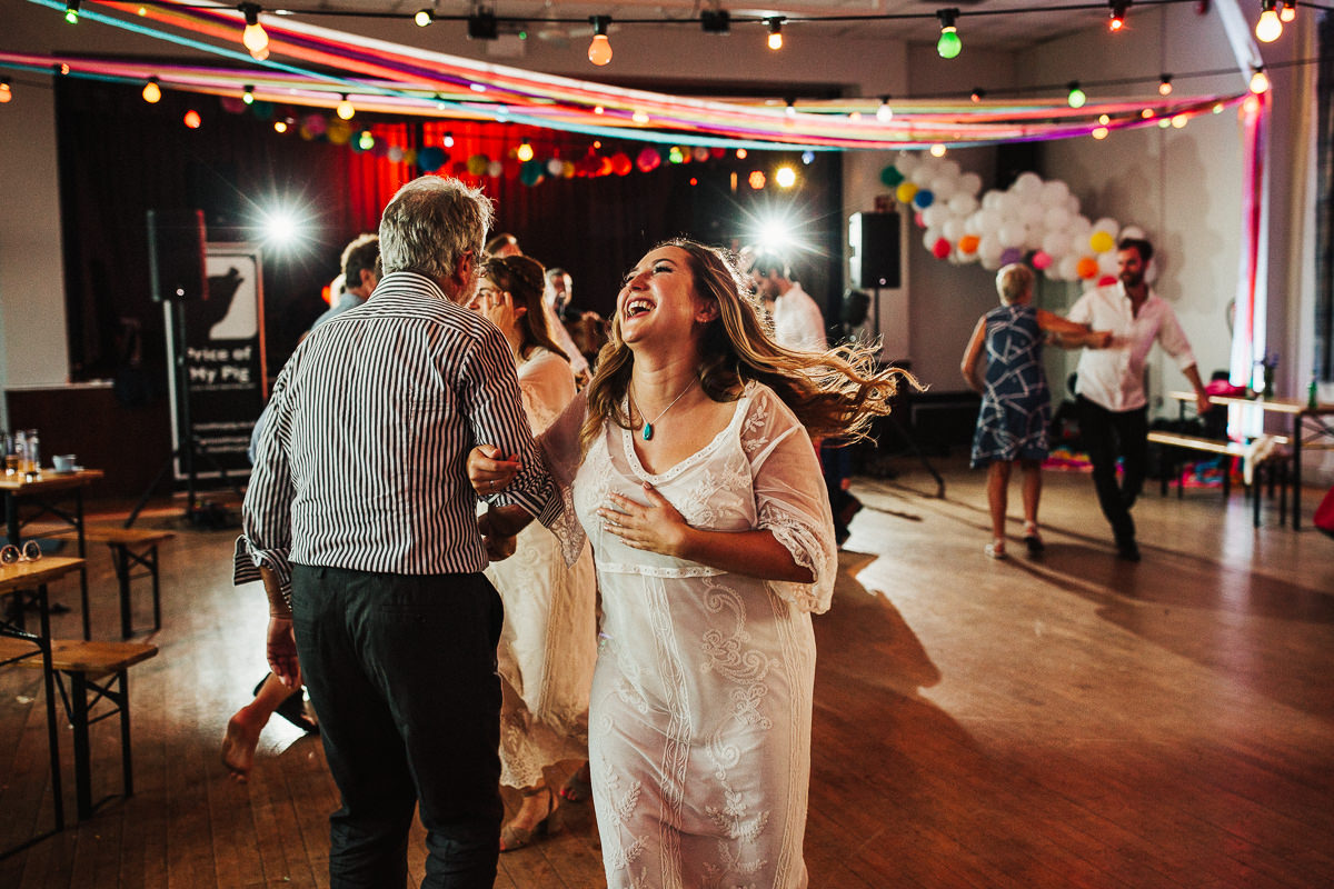 Ceilidh dancing at Hurst Green village hall wedding
