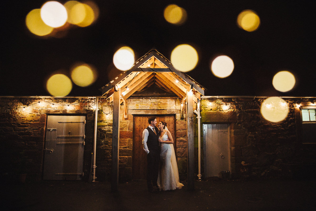 Askham Hall winter wedding portrait