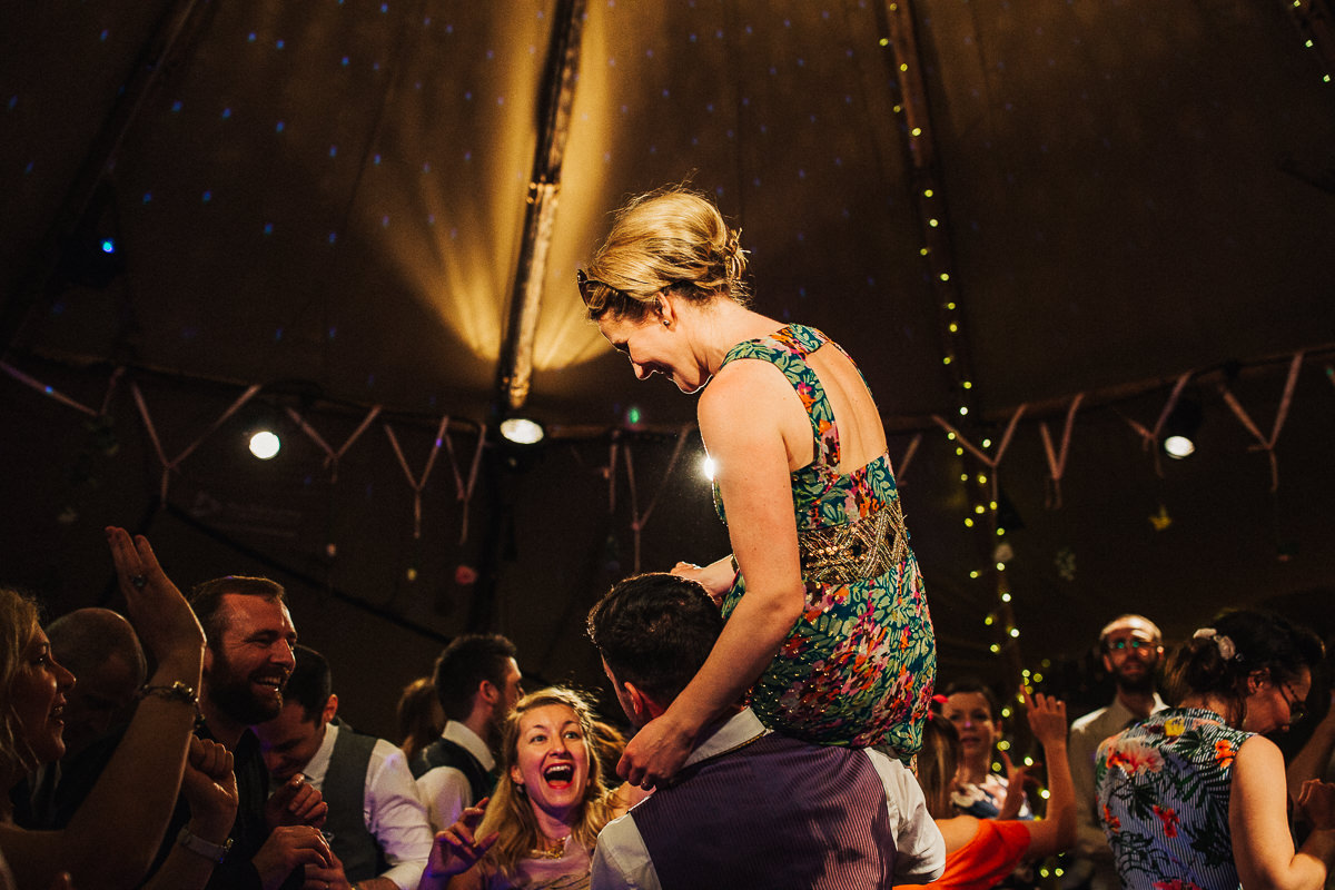 Fun tipi wedding Cherry Orchard Lake
