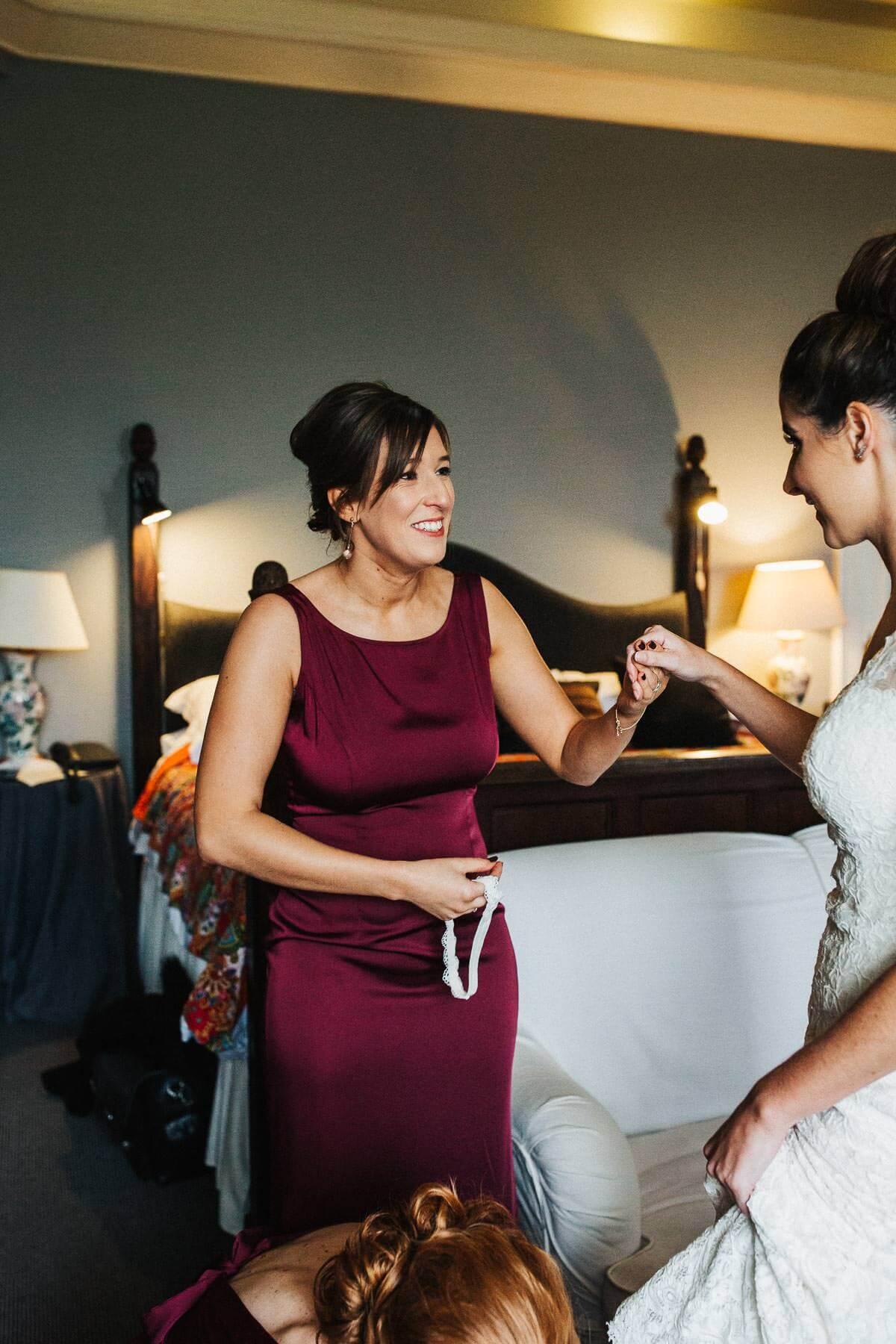 Natural photo of the bridesmaid smiling