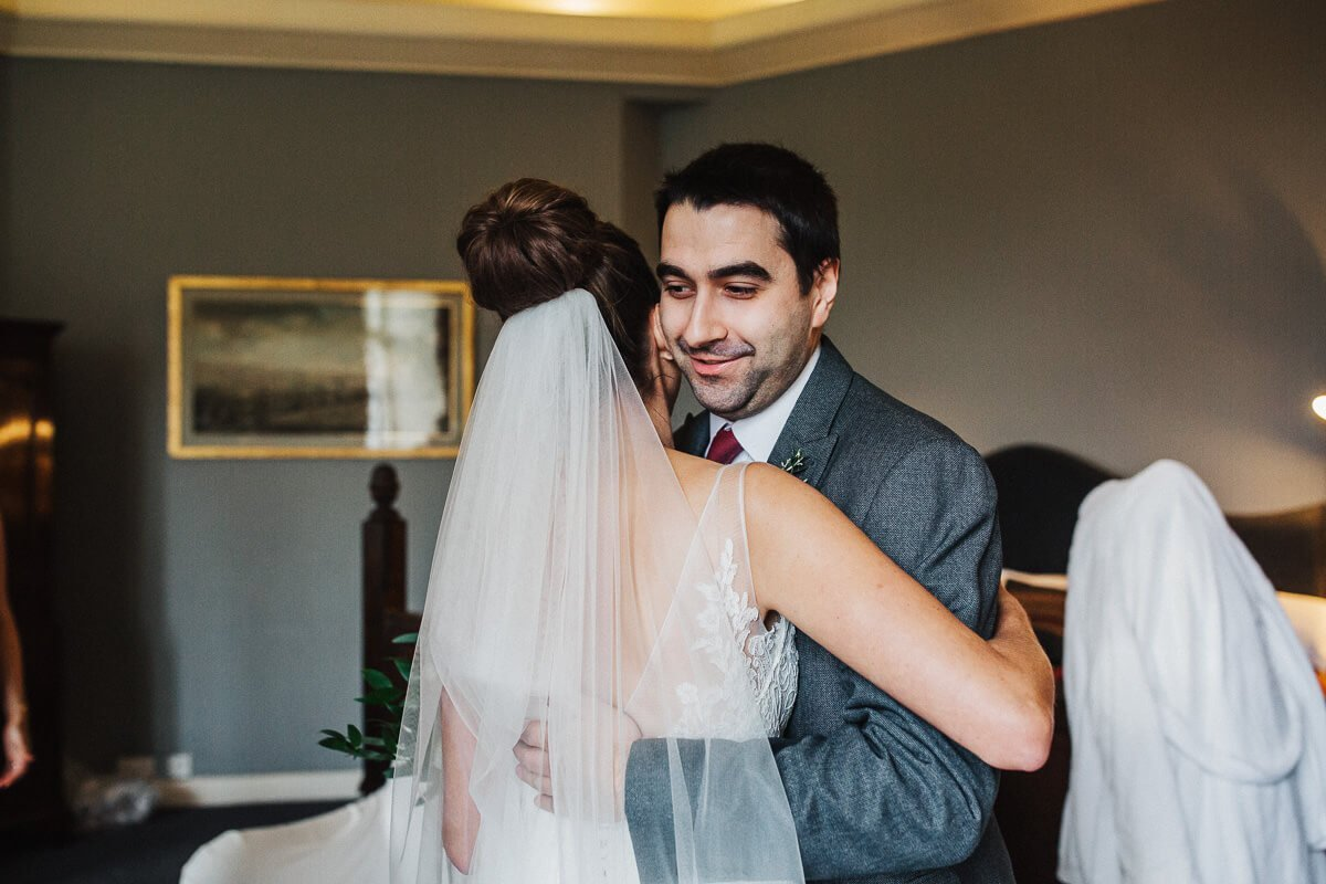 Hug with the bride's brother
