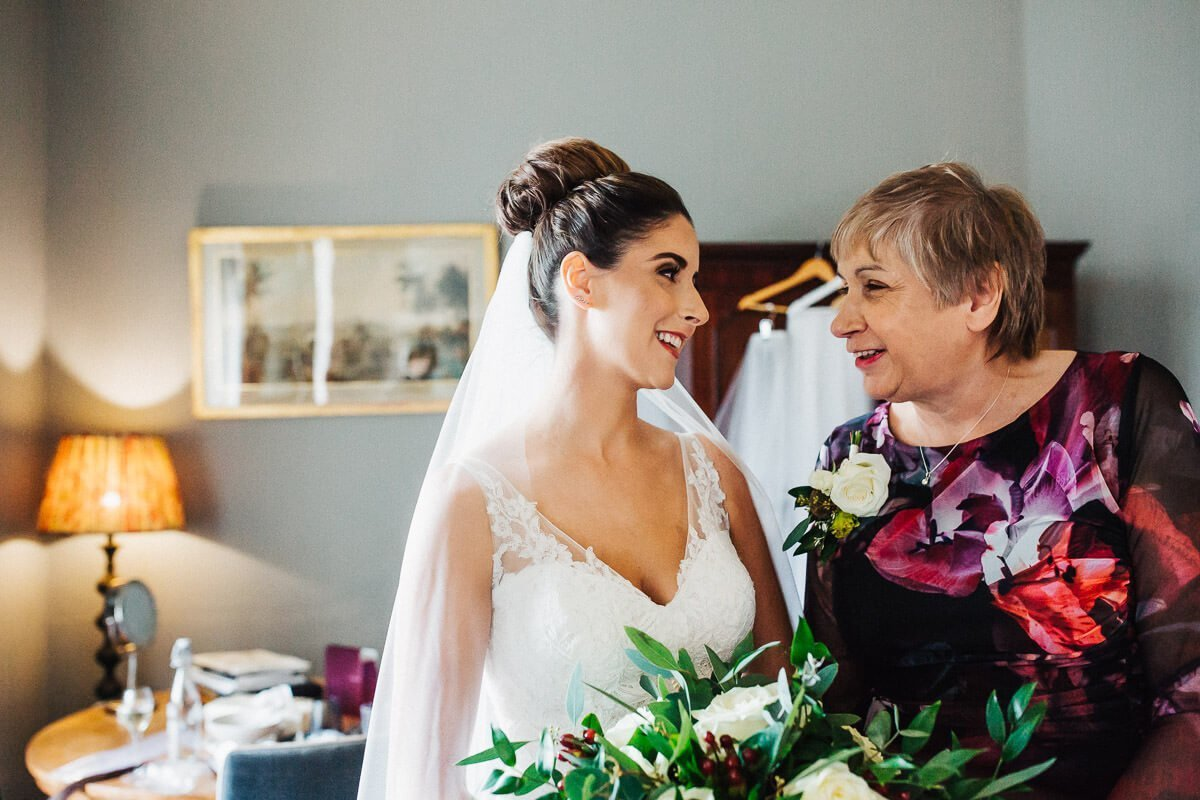 Natural wedding photo with mother of the bride