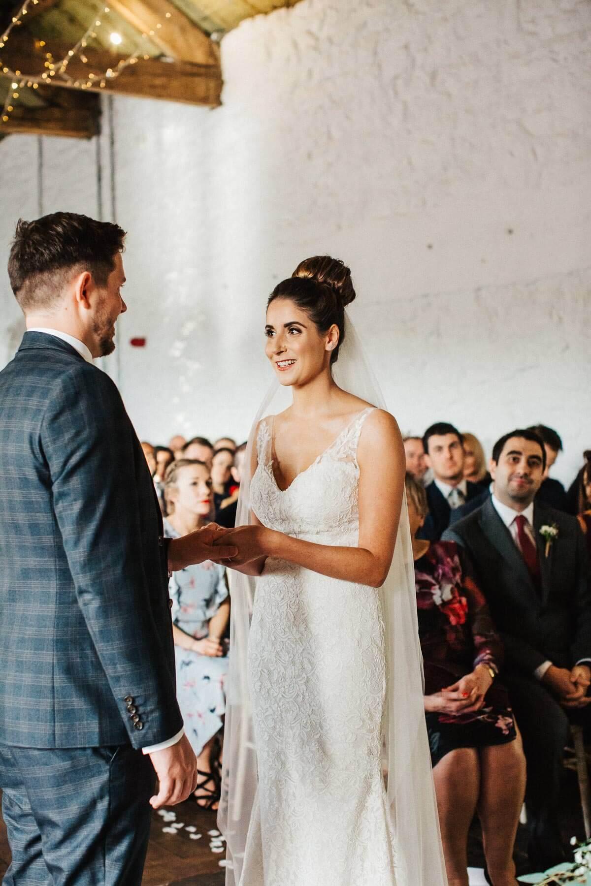 Elegant bride wearing lace dress