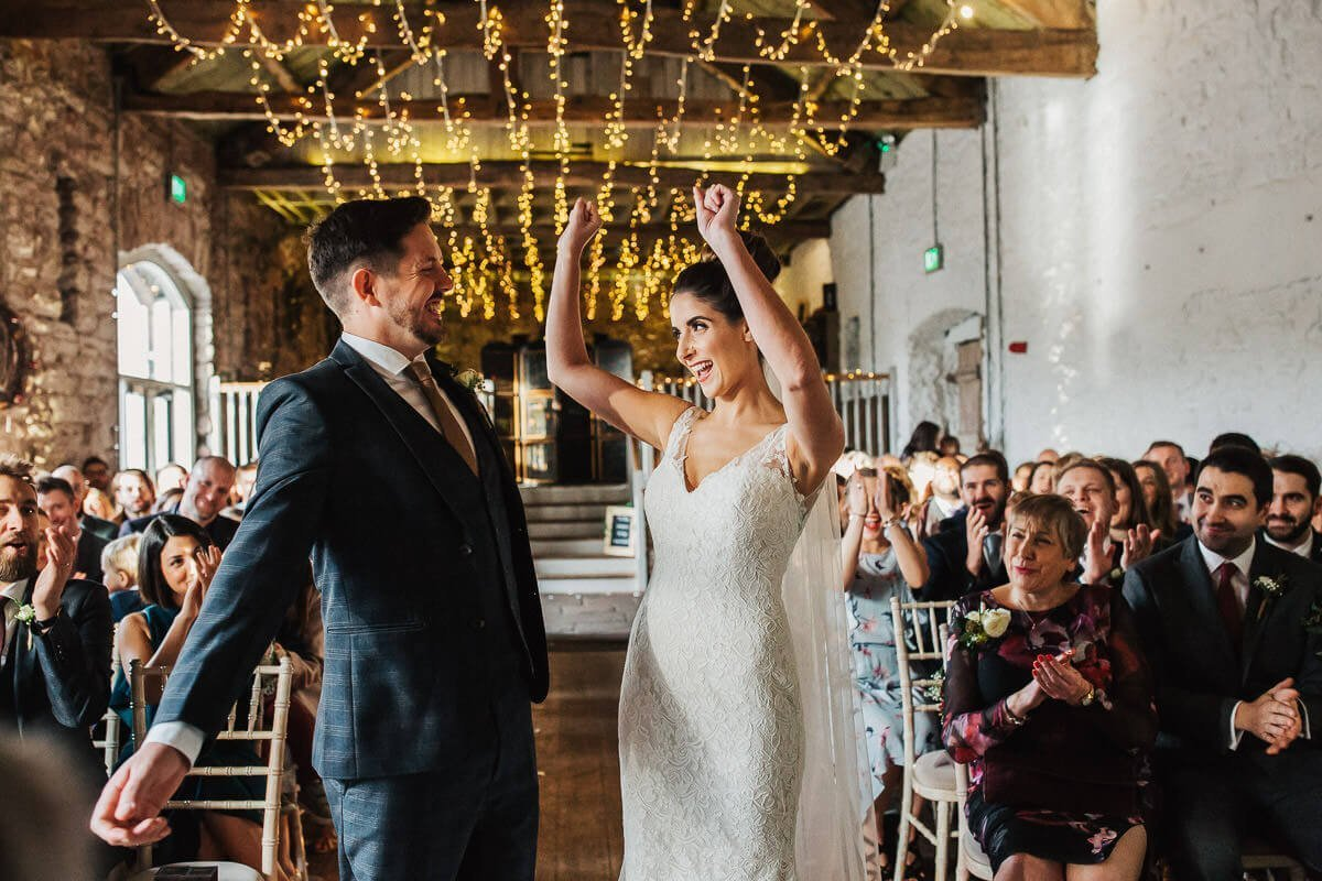 Celebrations at this winter wedding at Askham Hall