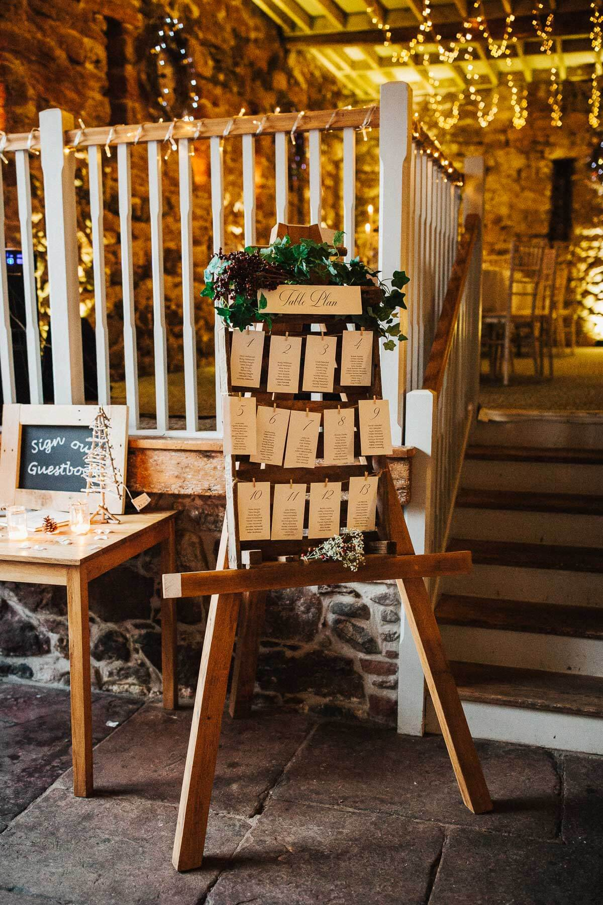 Rustic woodland table plan