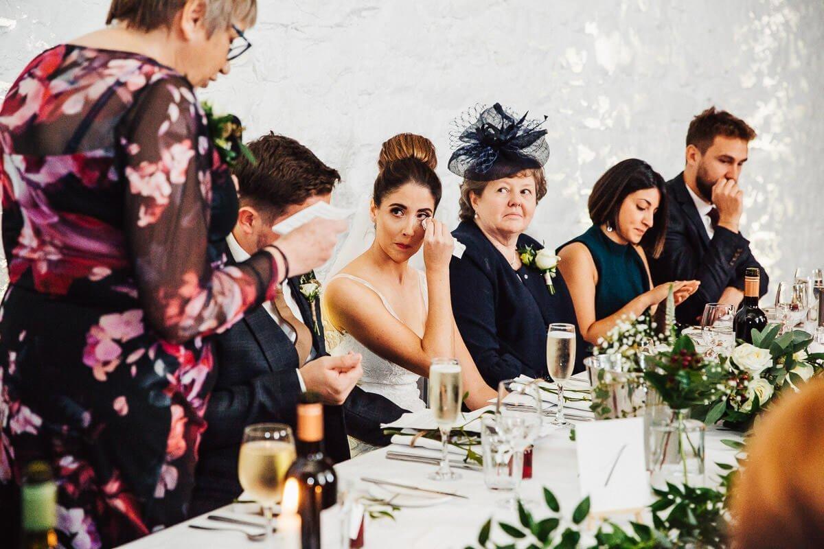 Emotional speeches during Cumbrian wedding