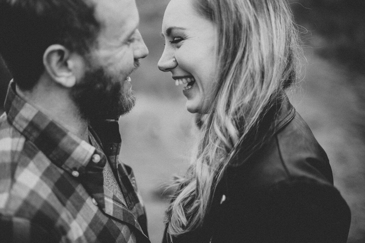 Couple laughing during their pre wedding shoot