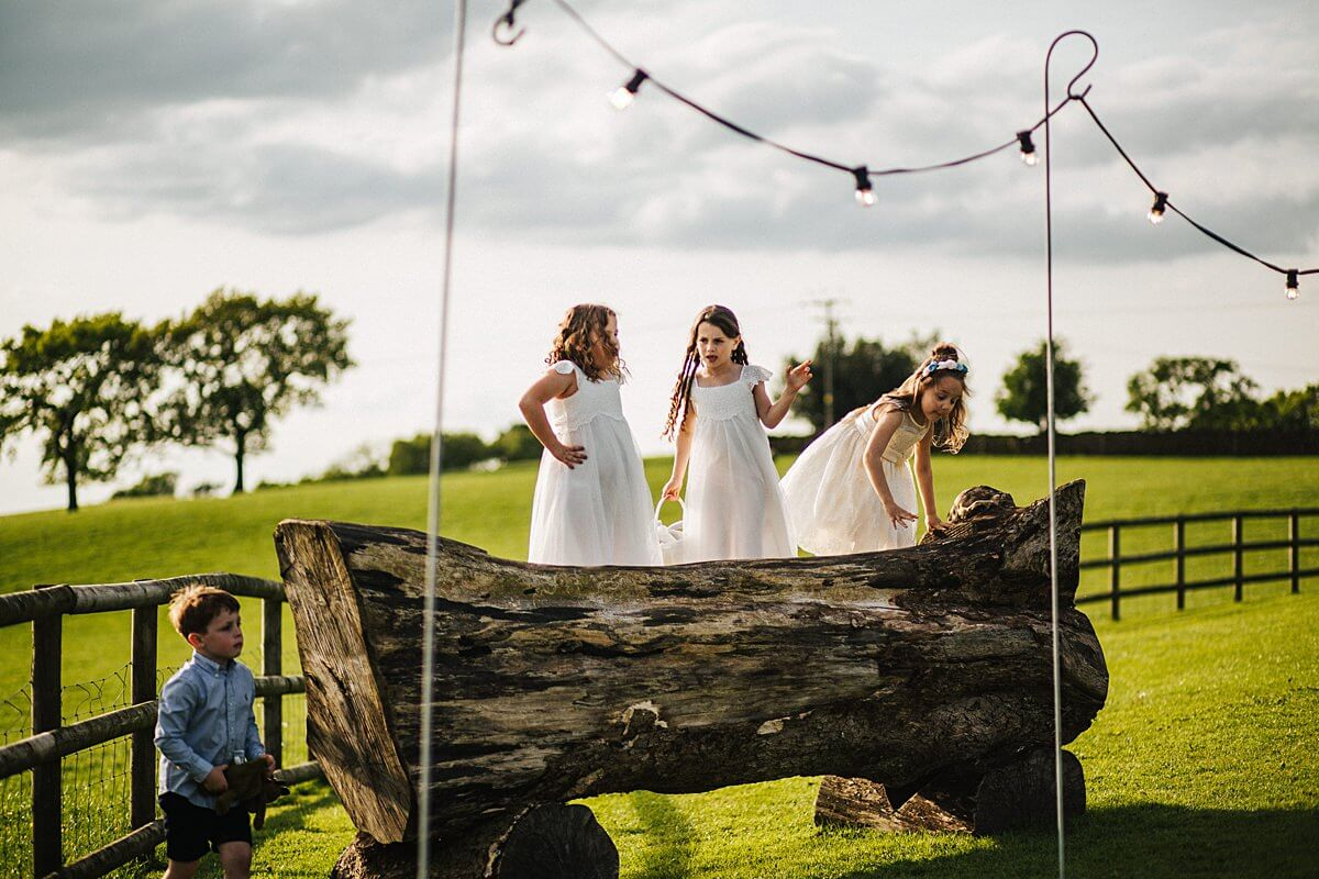 Children playing at the outdoor wedding