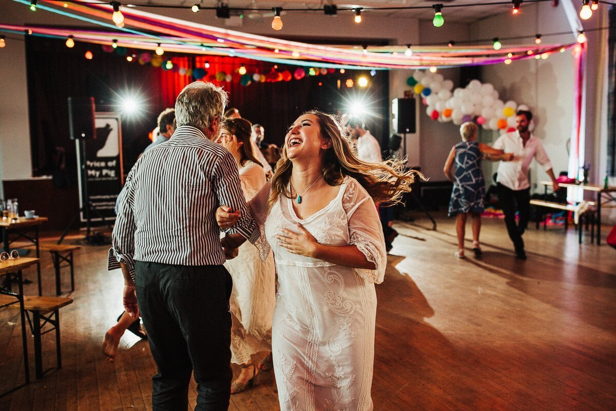 Ceilidh dancing at fun DIY wedding