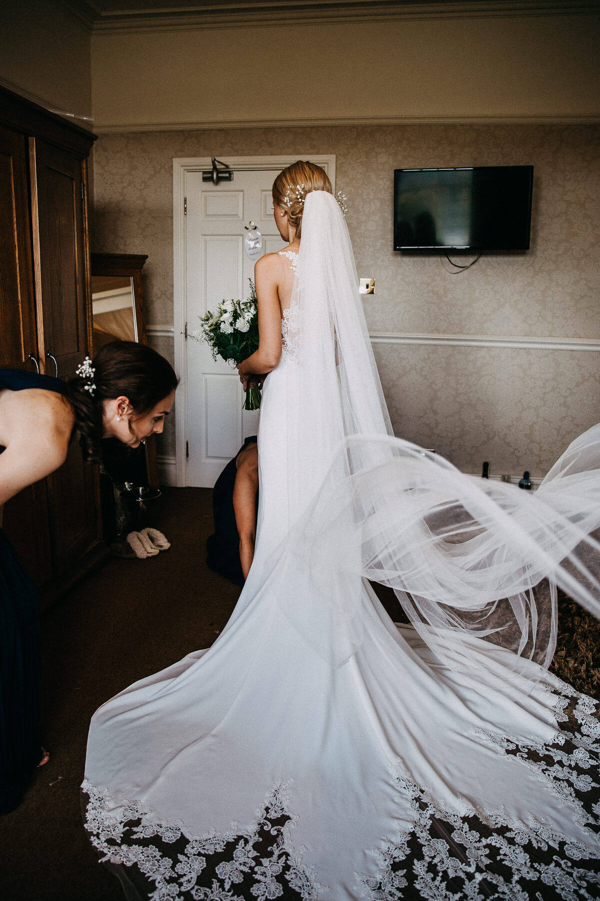 Silk wedding dress and veil