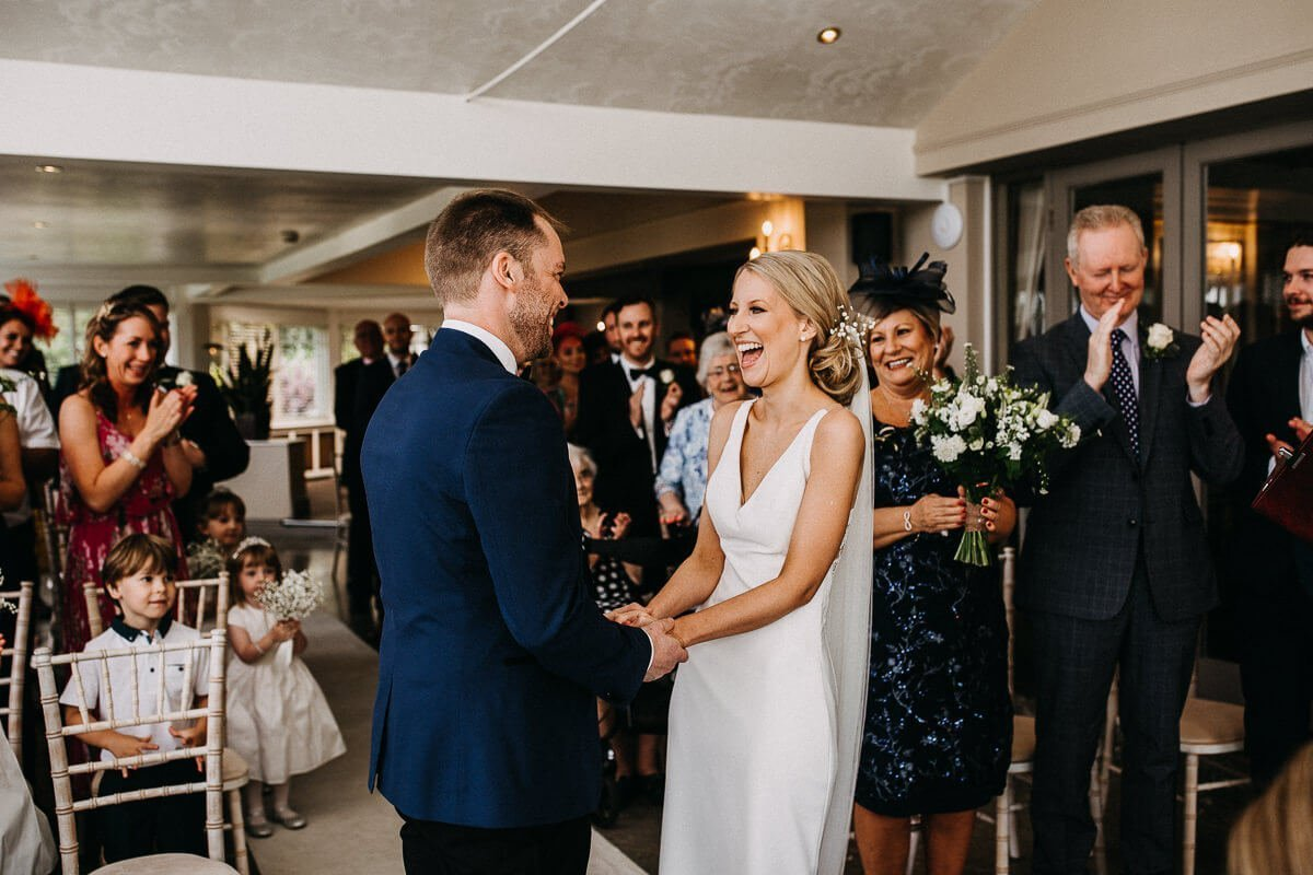 Laughter during the ceremony at The Ryebeck
