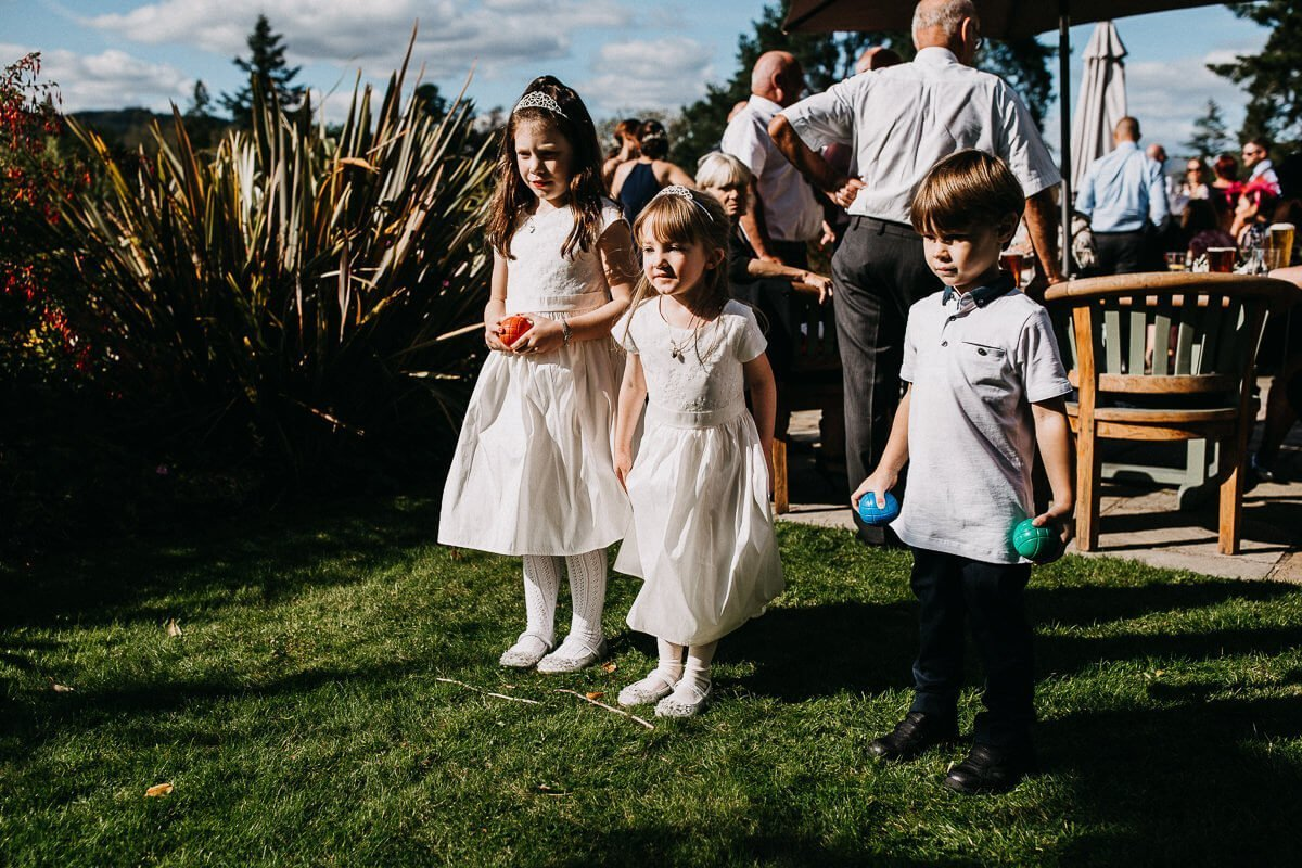 Flower girls playing ball games at The Ryebeck Windermere