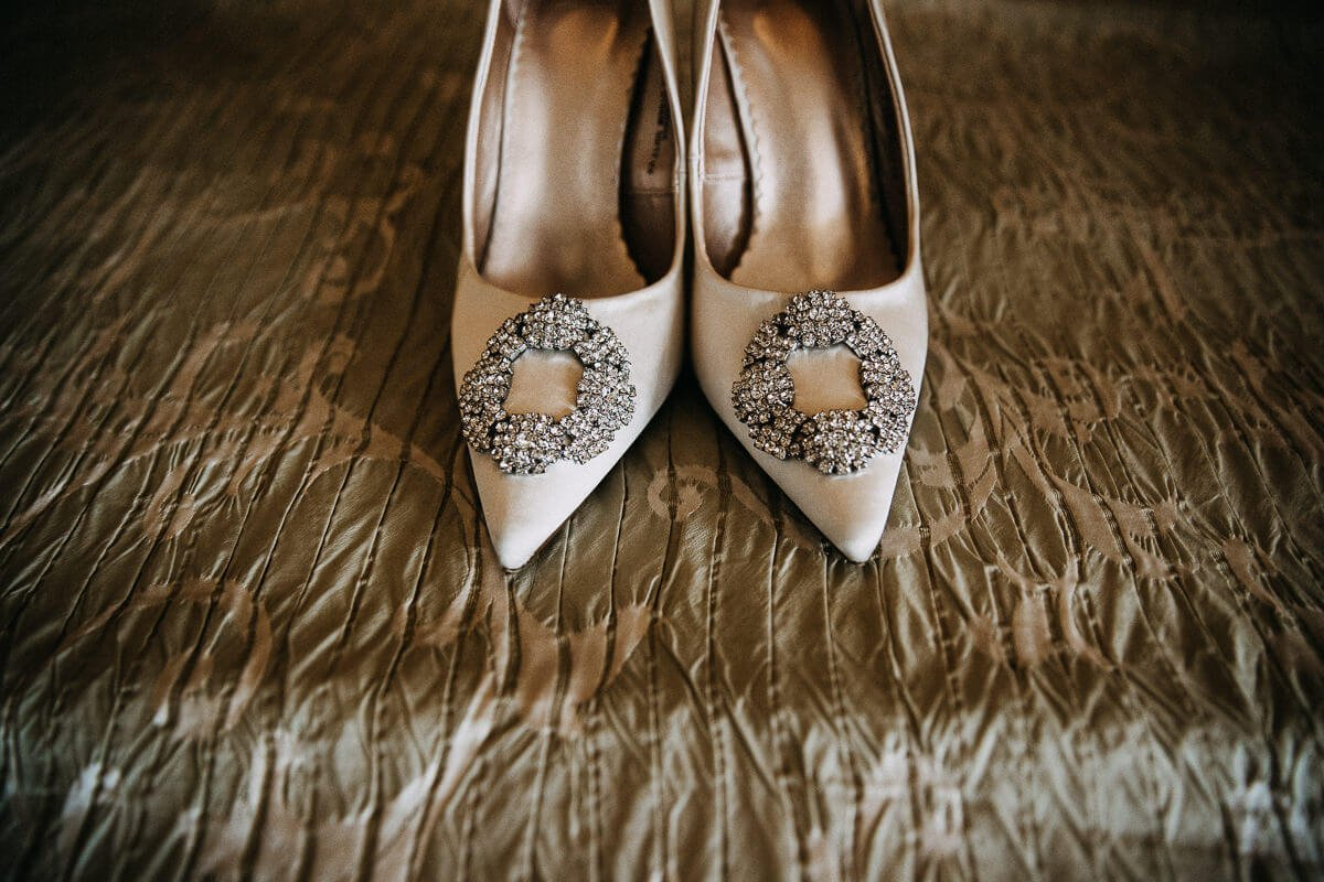 White embellished bridal shoes